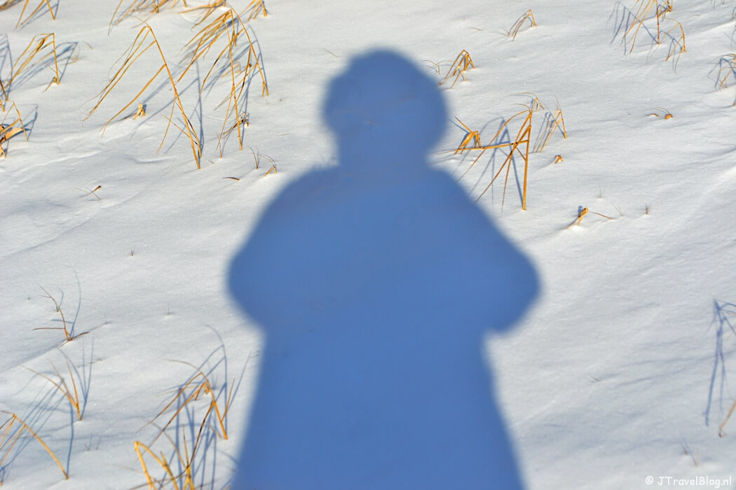 Me and my shadow in the snow, februari 2021